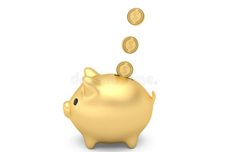 Mealheiro do ouro com as moedas que caem no entalhe isolado no branco 3 ilustração do vetor