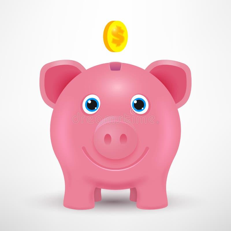 Mealheiro do vetor 3d Moeda dourada Ilustração do vetor do negócio Mealheiro isolado com sombra Brinquedo leitão do vetor Porco d ilustração stock