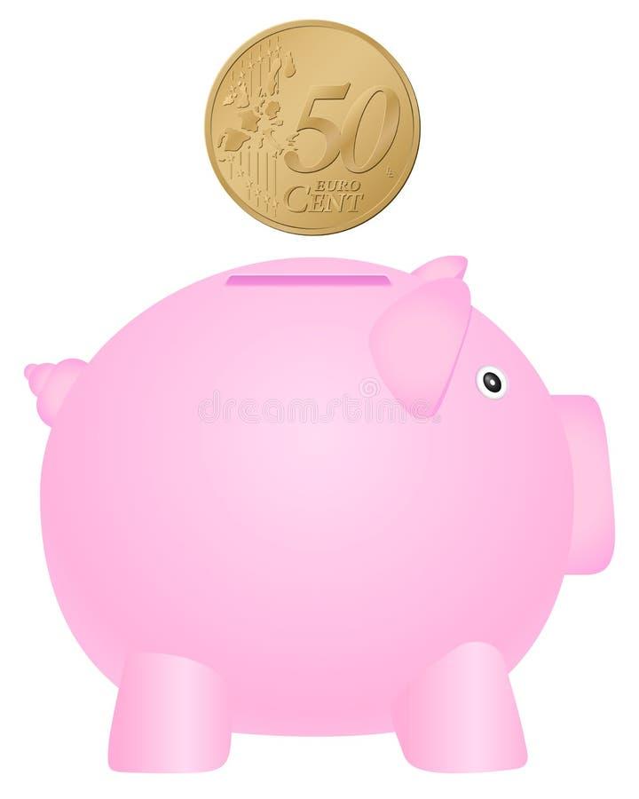 Mealheiro e euro- centavo cinqüênta ilustração do vetor