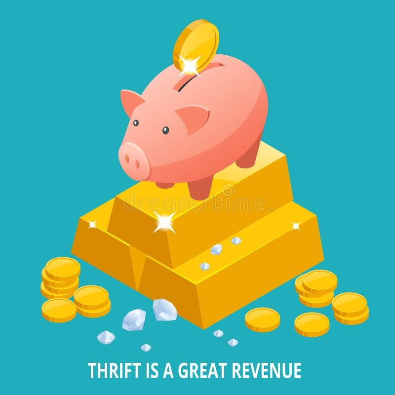 Mealheiro, lingote de ouro, diamante e ícone isométricos das moedas A parcimônia é um grande conceito do rendimento ilustração royalty free