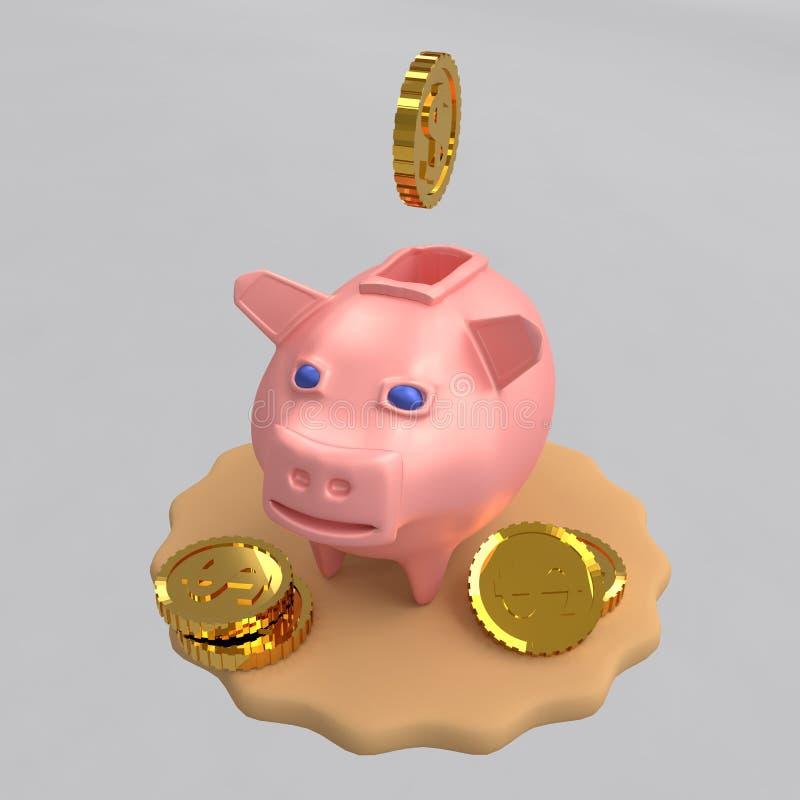 Mealheiro para o porco do dinheiro, moedas de queda, rendição 3D ilustração stock