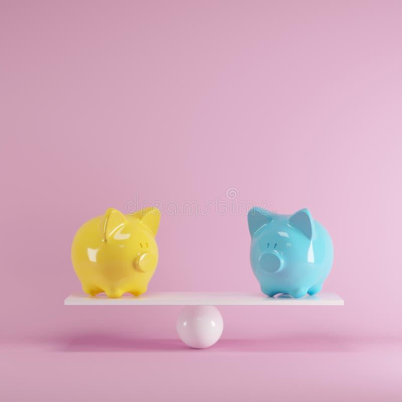 Mealheiros amarelos e azuis que jogam com balancê branca no fundo cor-de-rosa ilustração stock