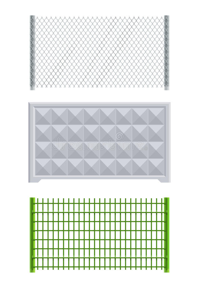 Meallic net and concrete fence stock illustration