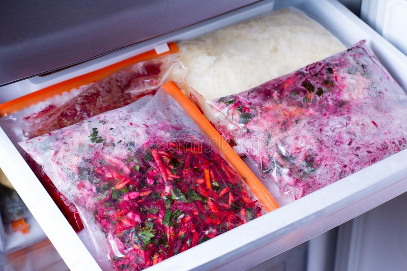 Meals in bags in the refrigerator stock photo