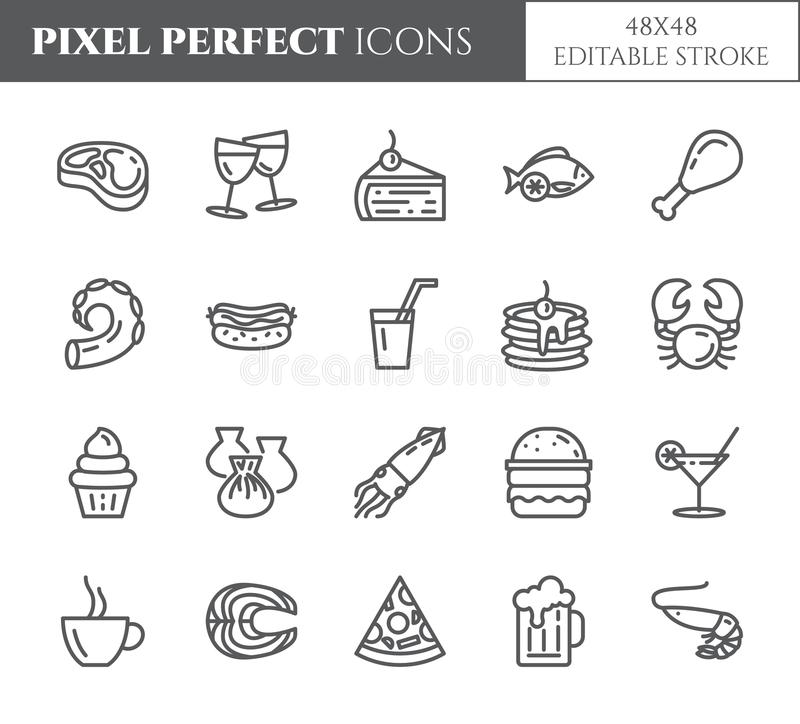 Meals theme pixel perfect thin line icons. Set of elements of pie, steak, fish, tea, wine, shrimp, pizza and other restaurant food stock illustration