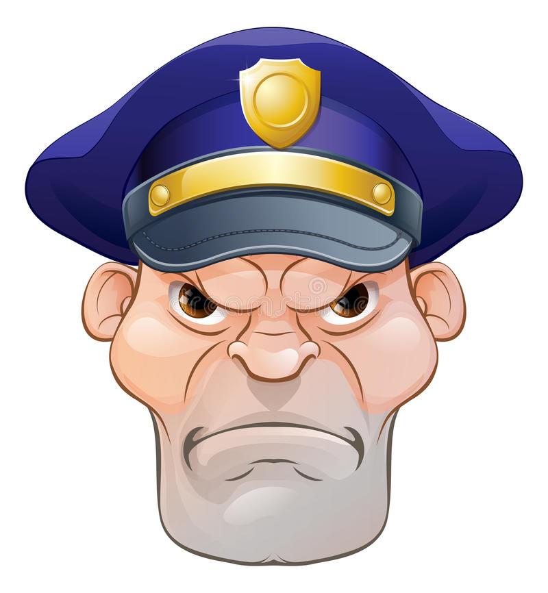 Mean Angry Cartoon Policeman royalty free illustration