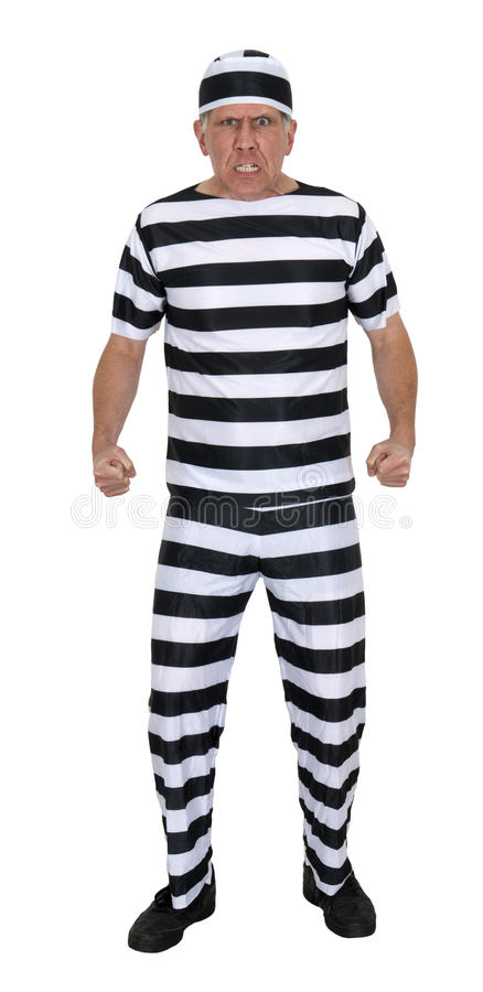 Mean Angry Convict Burglar Isolated on White. Mean angry convict. Looks like the thief hasn't been reformed and is ready to go out and rob banks or steal royalty free stock photos