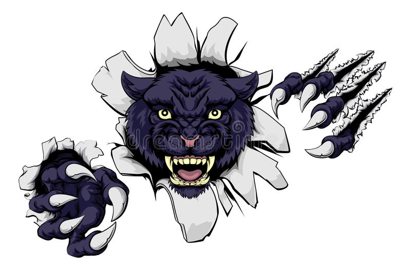 Mean Black Panther Mascot royalty free illustration