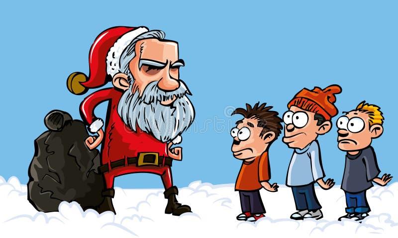 Download Mean Cartoon Santa With A White Beard Stock Vector - Illustration of xmas, hand: 19210053