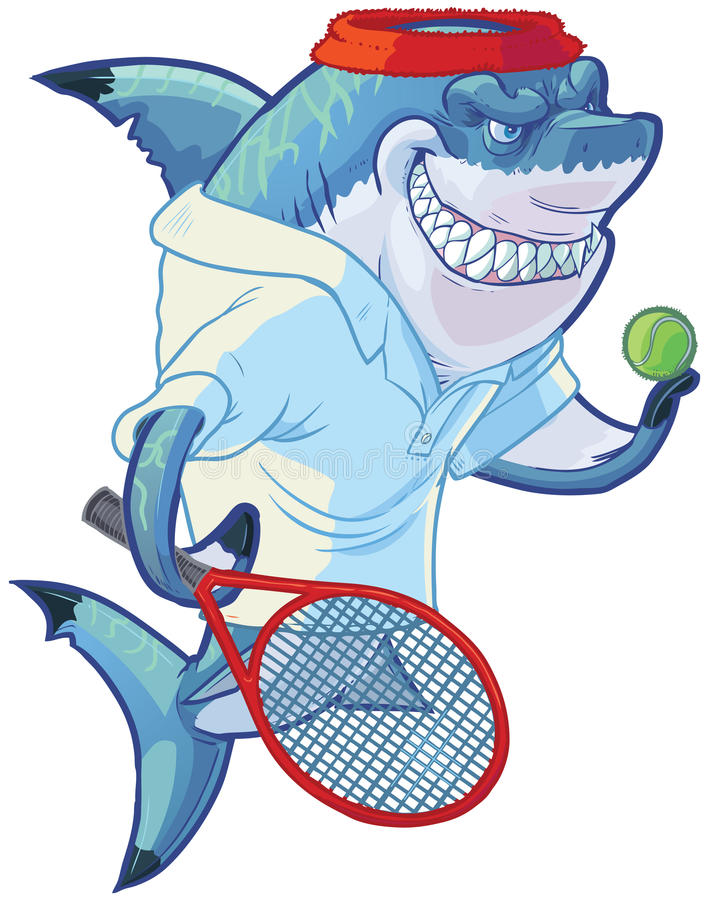 Mean Cartoon Tennis Player Shark with Racquet and Ball royalty free illustration