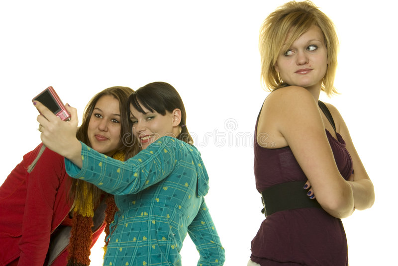 Download Mean Girls Take Photos With Cellphone Royalty Free Stock Image - Image: 8178356