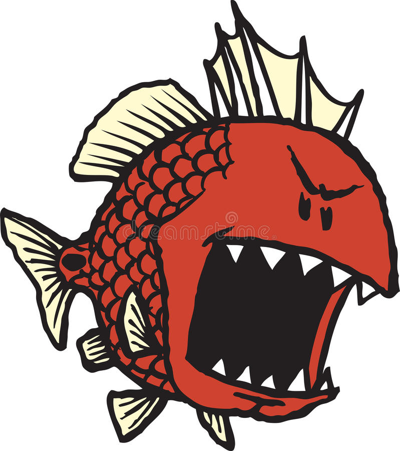Mean Red Fish royalty free illustration