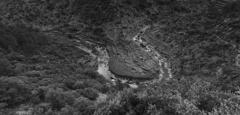 Meander in Las Hurdes, stock afbeeldingen