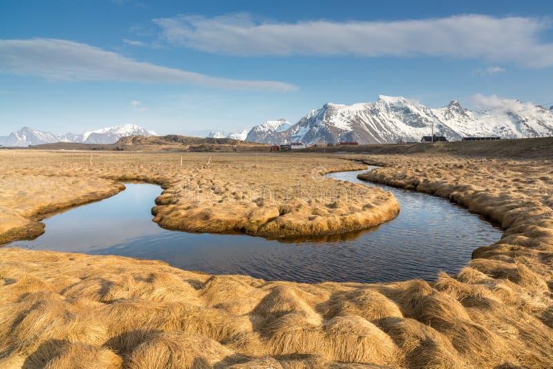Meander, Moskenesoy-eiland, Lofoten, Noorwegen royalty-vrije stock afbeelding