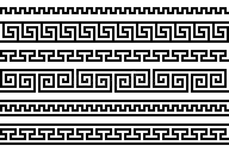 Greek fret repeated motif. meander. vector seamless pattern. simple black and white background. geometric shapes. textile paint royalty free illustration