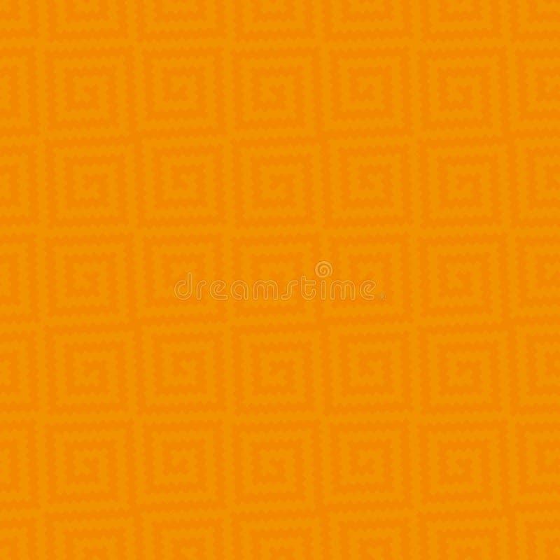 Meander Pixel Art Seamless Pattern. Orange Meander Pixel Art Pattern. White Neutral Seamless Pattern for Modern Design in Flat Style. Tileable Greek Key Vector royalty free illustration