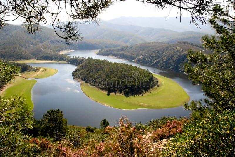 Meander van de Alagon Rivier, Extremadura (Spanje) royalty-vrije stock afbeelding