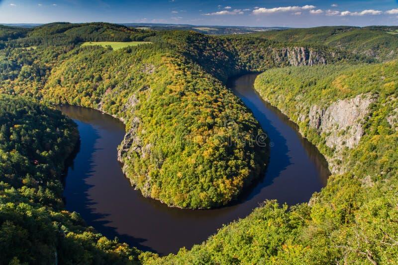 Meander van Vltava-Rivier - Teletin, Tsjechische Republiek royalty-vrije stock foto