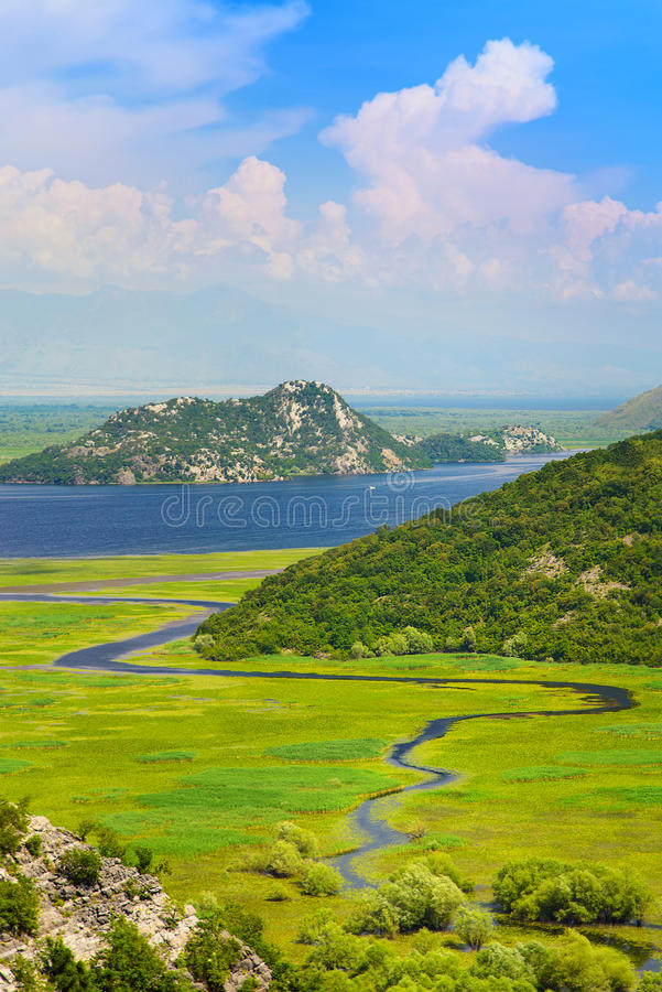 Meandering Rijeka Crnojevica river in Skadar Lake National Park, Montenegro royalty free stock photos