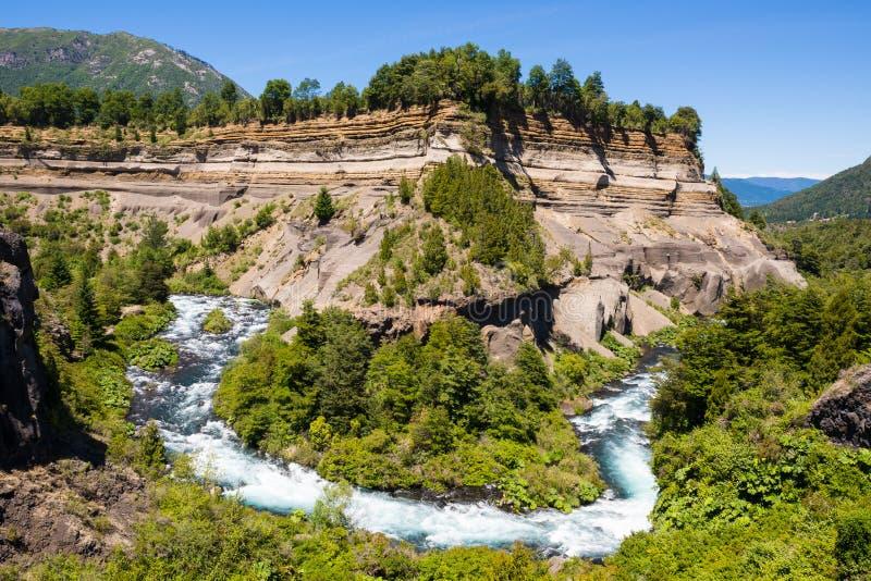 Meandro del fiume di Truful-Truful, Cile fotografia stock