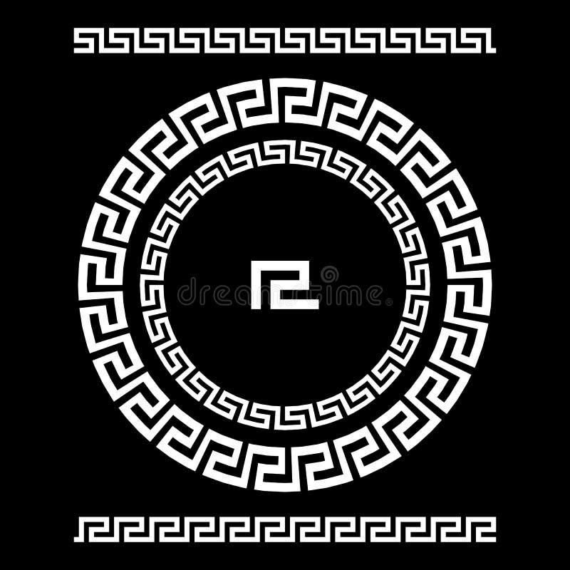 Meandro del ornamento del círculo Marco redondo, rosetón de elementos antiguos Modelo redondo antiguo nacional griego, vector Pul ilustración del vector