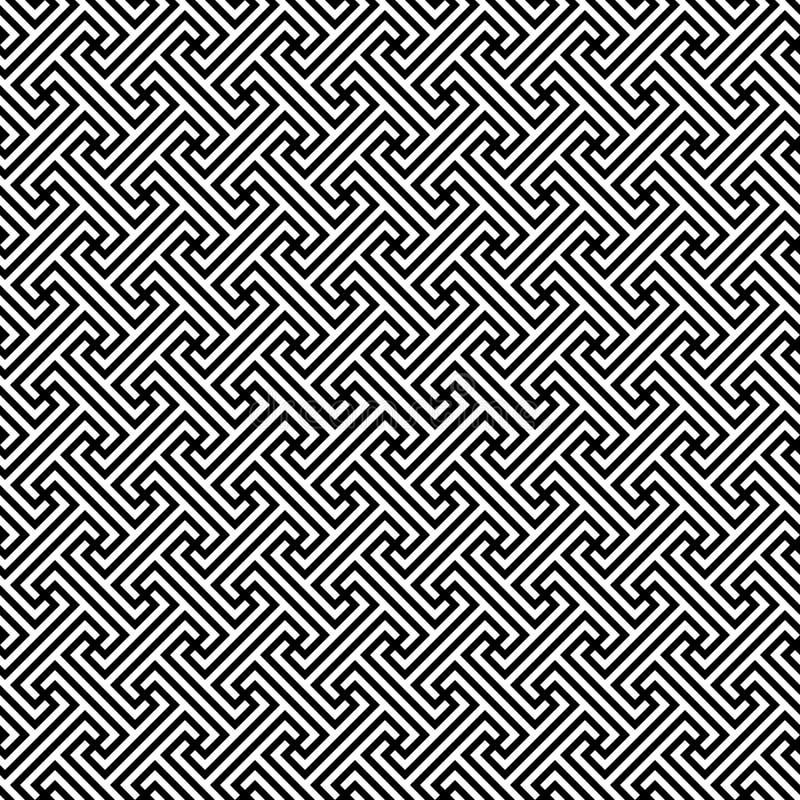 Meandro diagonal contínuo fricção grega clássica motivo repetido Vector o teste padrão sem emenda Fundo preto e branco simples ilustração stock
