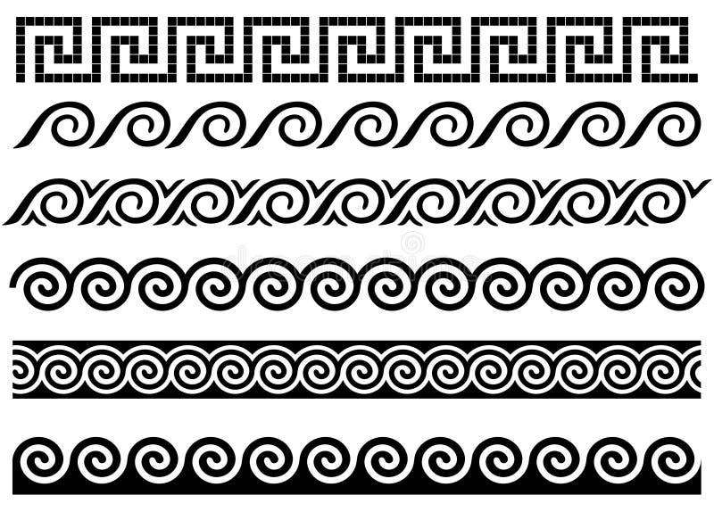 Meandro e onda. Ornamento do grego clássico. ilustração do vetor