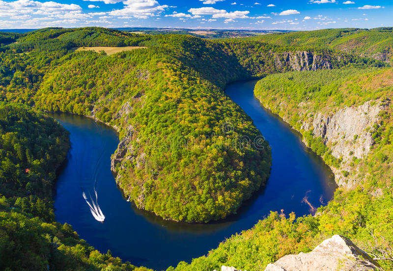 Meandro em ferradura da forma do rio de Vltava do ponto de vista do major, natureza de República Checa fotografia de stock royalty free