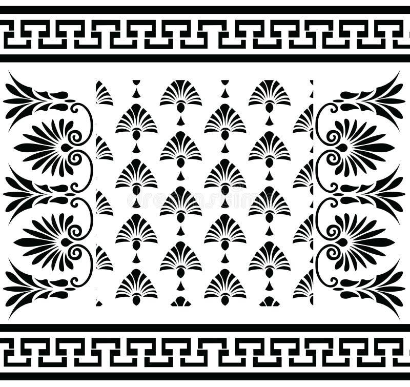 Meandro greco d'annata tradizionale stabilito dell'ornamento di vettore e modello floreale illustrazione vettoriale