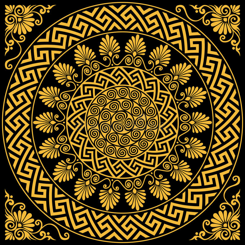 Meandro greco dell'ornamento dell'oro d'annata tradizionale di vettore royalty illustrazione gratis