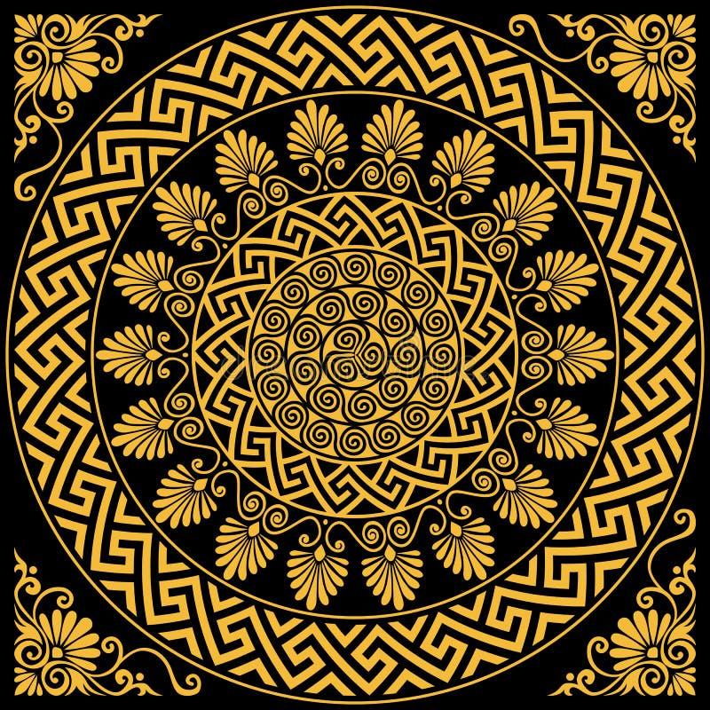 Meandro griego del ornamento del oro tradicional del vintage del vector libre illustration