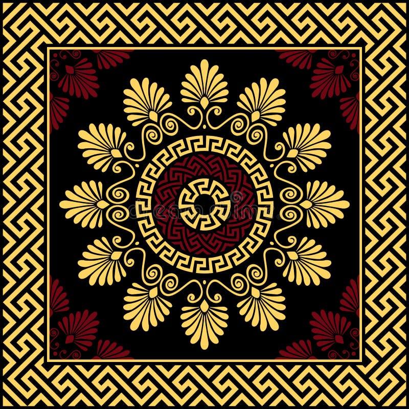 Meandro griego del ornamento del oro tradicional del vintage del vector ilustración del vector