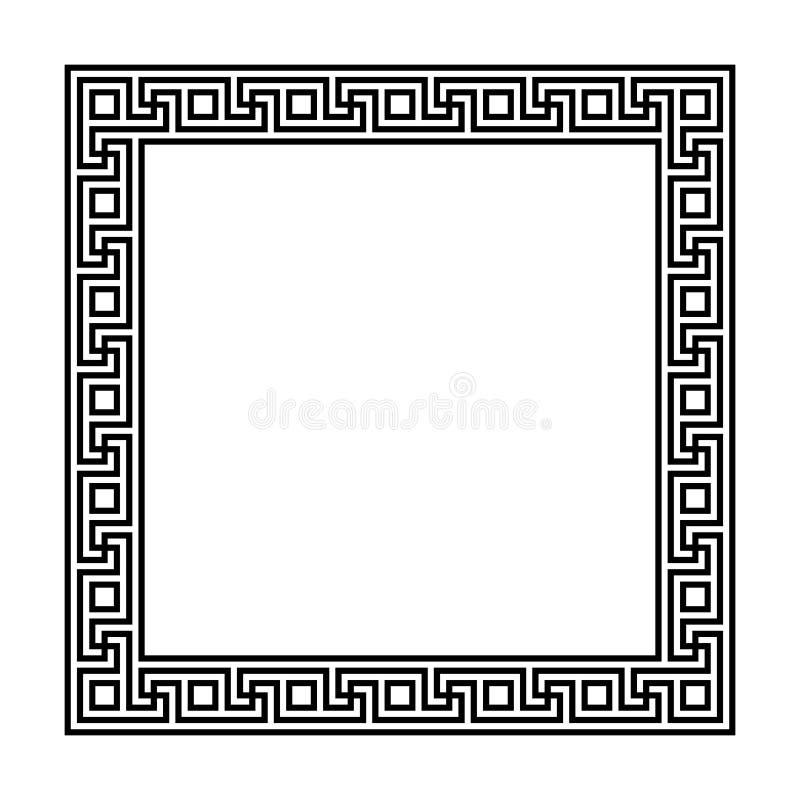 与无缝的河曲样式的长方形框架 希腊钥匙 希腊苦恼重复的主题 Meandros 一个装饰边界 皇族释放例证
