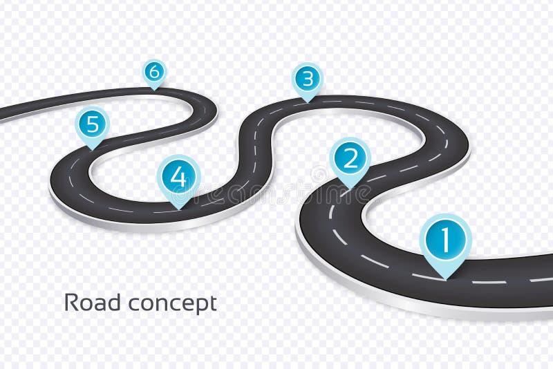 Meandrować 3d drogowego infographic pojęcie na białym tle TimeL royalty ilustracja