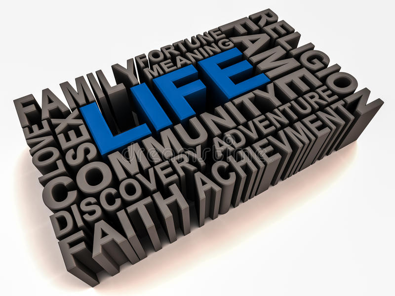 Meaning of life. Words related to meaning of life like family religion community faith sex money fame etc on white background, word life in blue and others in royalty free illustration
