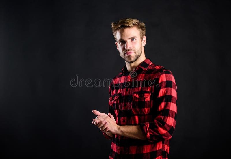 Meaning of modern manliness. Barbershop and beauty salon. Hipster black background. Exhibit masculine traits. Standards royalty free stock photos