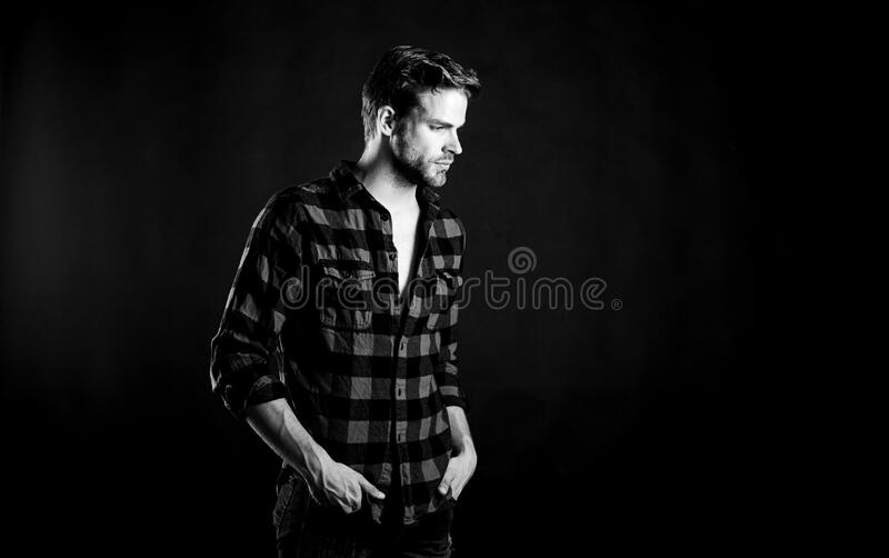 Meaning of modern manliness. Handsome well groomed man. Manliness concept. Barbershop and beauty salon. Hipster black. Background. Exhibit masculine traits royalty free stock photo