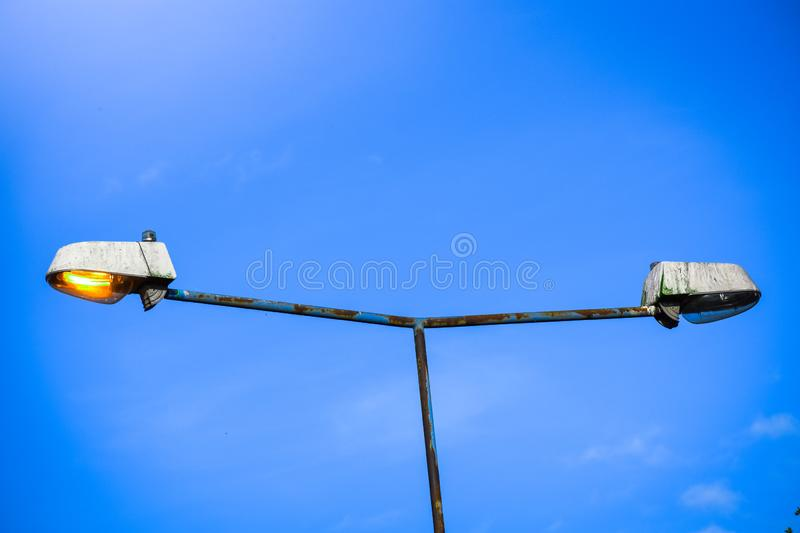 Meaningful and conceptual street light post that means Good Versus Bad , right versus wrong , correct versus incorrect stock photo