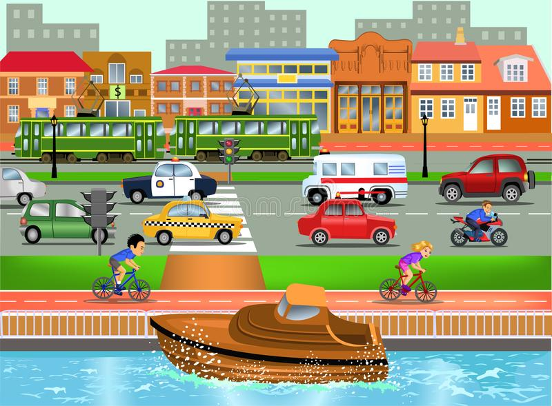 Means of transport in busy town illustration vector illustration