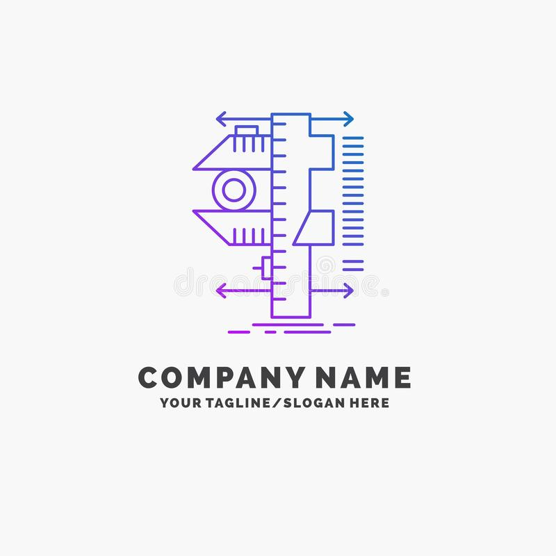 Measure, caliper, calipers, physics, measurement Purple Business Logo Template. Place for Tagline. Vector EPS10 Abstract Template background royalty free illustration