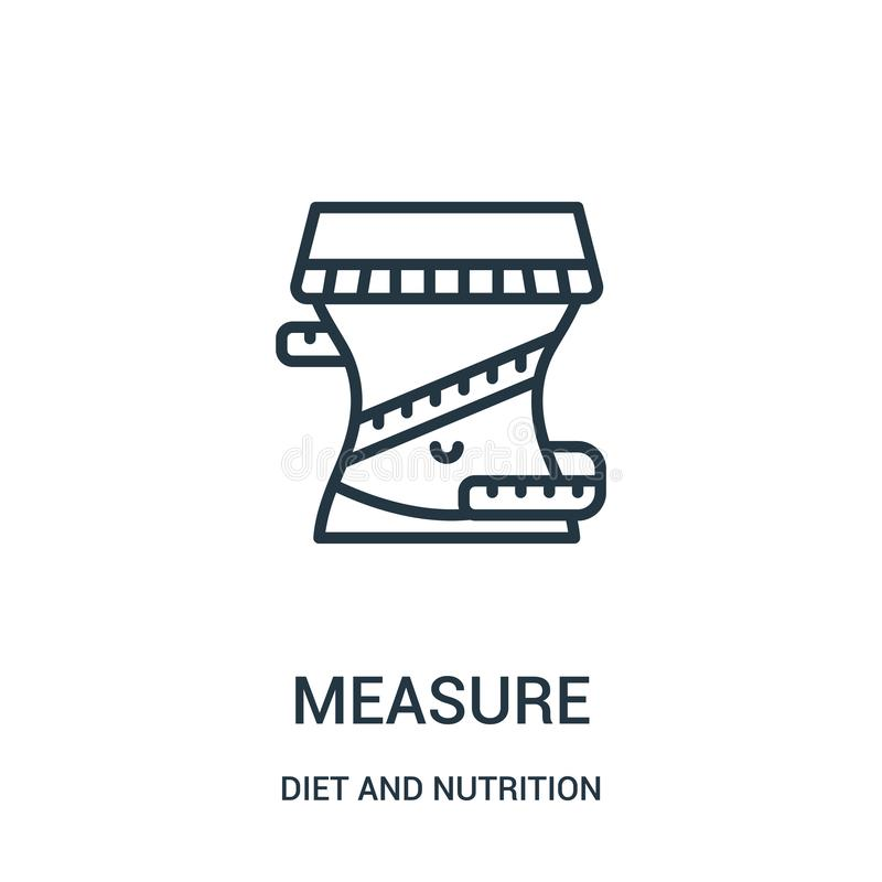 measure icon vector from diet and nutrition collection. Thin line measure outline icon vector illustration. Linear symbol stock illustration
