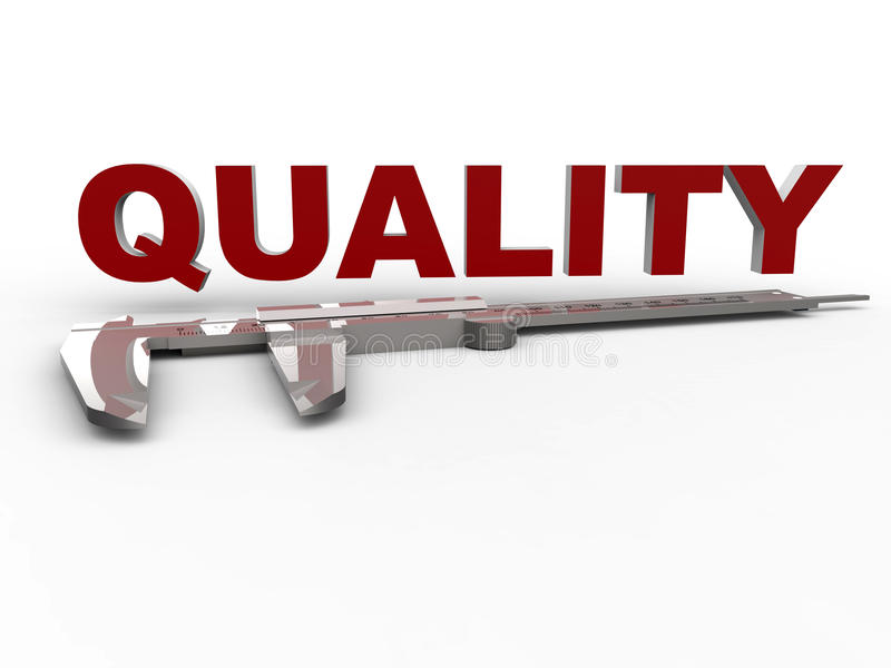 Measure quality caliper concept. 3D rendered illustration for the concept of quality measurement. The composition uses a 3D caliper model and the word quality stock illustration