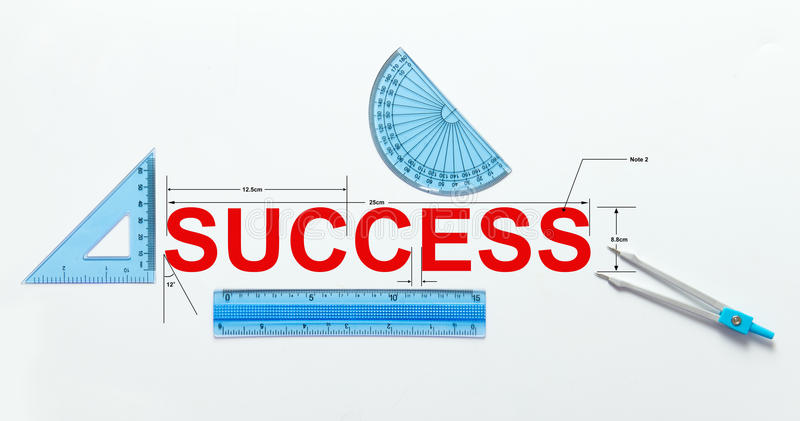 Measure of success. Concept using geometry set stock photos