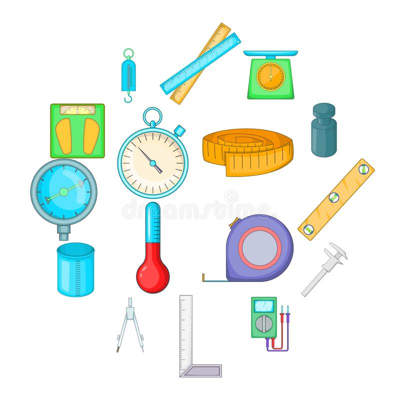 Measure tools icons set, cartoon style. Measure tools icons set. Cartoon illustration of 16 measure tools vector icons for web royalty free illustration
