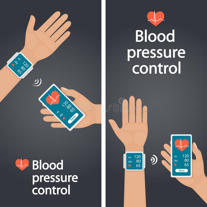Measurement and monitoring of blood pressure with modern gadgets and mobile applications. Man checking arterial blood pressure wit royalty free illustration
