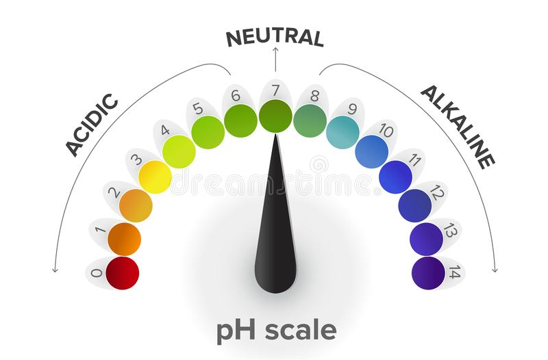 Measurement of the pH scale, pressure gauge, infographics. All the steps from acid to neutral to alkaline. pH is a logarithmic scale used to specify the royalty free illustration