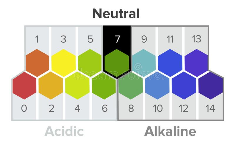 Measurement of the pH scale, spectrum, infographics. All the steps from acid to neutral to alkaline. pH is a logarithmic scale used to specify the acidity or vector illustration