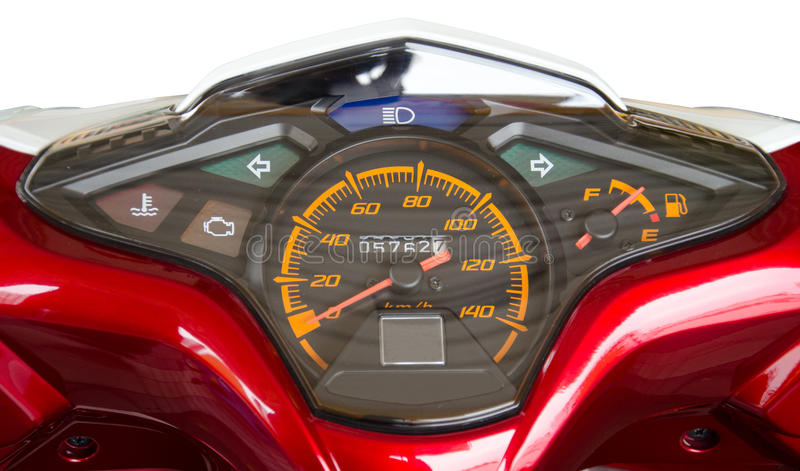 Measurement speed. Motorcycle Instrument cluster with a detailed description of the symbol stock photo