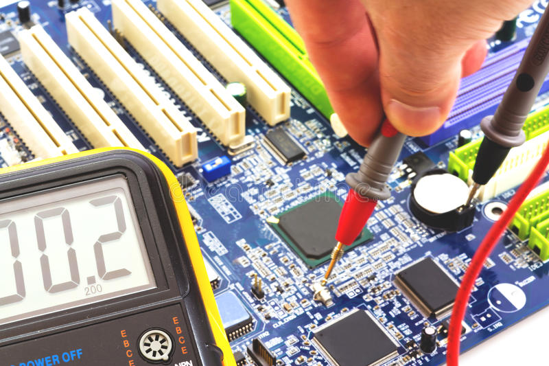 Measurement And Testing To The PC Motherboard Royalty Free Stock Photography