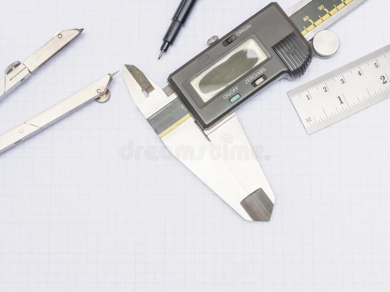 Download Measurement Tools On Graph Paper Stock Images - Image: 37692154